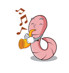 with trumpet worm mascot cartoon style vector image