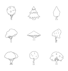 Woody plants icons set outline style vector
