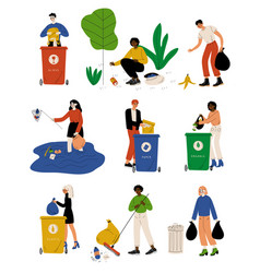 young men and women picking up litter outdoors set vector image