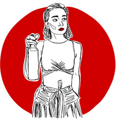 Young woman with bottle of wine one line design vector