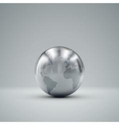 3D metallic globe vector image