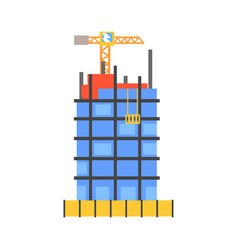 construction of building from glass and concrete vector image