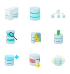 Data storage icons set cartoon style vector