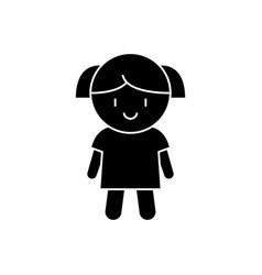 doll girl icon black sign on vector image vector image