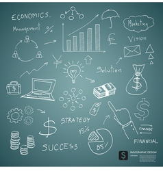 Drawing business plan concept on green board vector