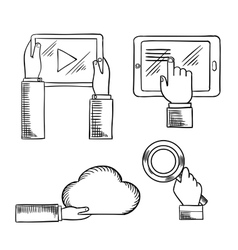 Hands icons with tablets cloud magnifying glass vector image vector image