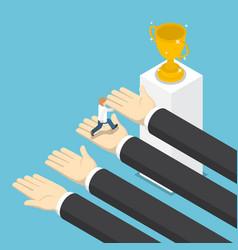 isometric big hands help businessman to success vector image vector image