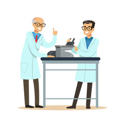 two cheerful men scientists at workplace doing vector image