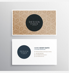 Elegant business card in brown color with line vector
