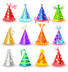 festive caps collection for celebration on white vector image
