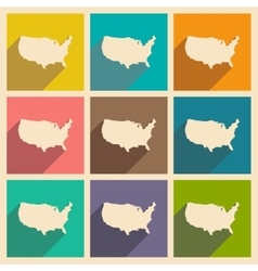 Set of flat icons with long shadow map of america vector