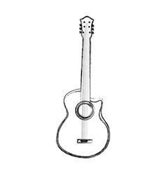 sketch draw guitar cartoon vector image