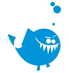 Cartoon angry fish icon vector