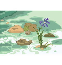 Cartoon flowers stones and brook vector image vector image