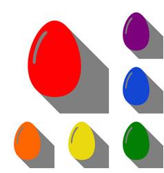 chiken egg sign set of red orange yellow green vector image vector image