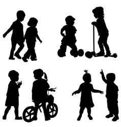 Couples of children silhouette vector image