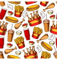Fast food dinner seamless pattern vector image vector image