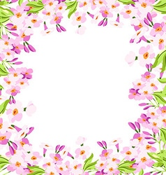 Frame with pink flowers vector image