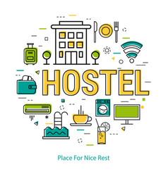 Hostel - line concept vector