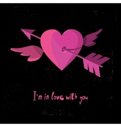 I am in love with you cupid arrow through heart vector