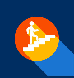 man on stairs going up white icon on vector image vector image