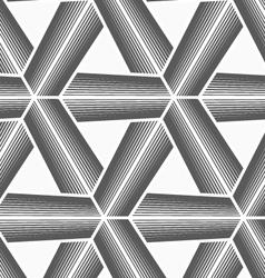 Monochrome halftone striped tetrapods with white vector image