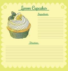 recipe lemon cupcake vector image