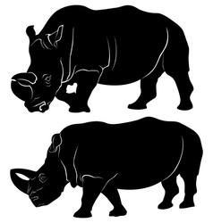 Rhino silhouette set of three vector image vector image