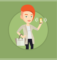 woman holding ringing mobile phone vector image vector image