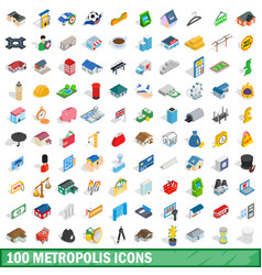 100 metropolis icons set isometric 3d style vector