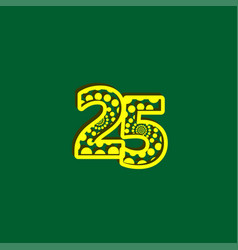 25 anniversary celebration bubble yellow number vector