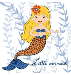 a beautiful little mermaid vector image