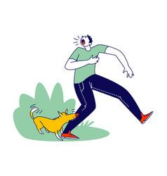 Aggressive dog biting man leg male character vector