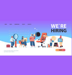 Arabic hr managers holding we are hiring join us vector