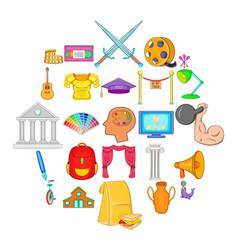 art skill icons set cartoon style vector image