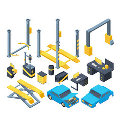 auto service with different equipment mechanic vector image