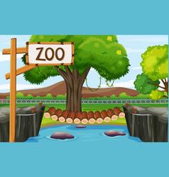 Background scene zoo with wooden bridge vector