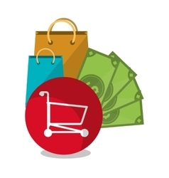 Bags and shopping online design vector