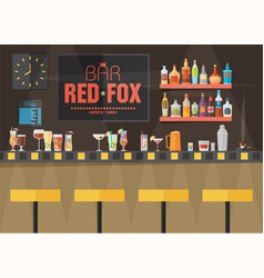 bar counter with stools and alcohol drink on vector image