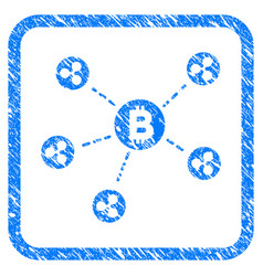 bitcoin ripple network framed stamp vector image