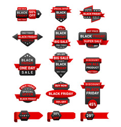 black friday shopping sale promotional labels vector image