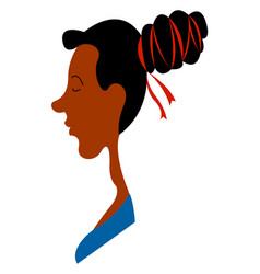 Black girl with messy bun on white background vector