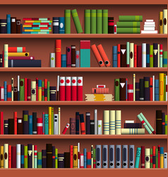 Book shelves library seamless pattern vector