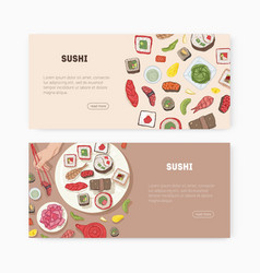 Bundle web banner templates with japanese food vector