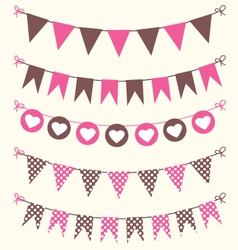 Bunting set pink and brown for scrapbook vector image