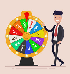businessman with fortune wheel business concept vector image