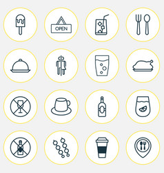 Cafe icons set with kebab alcohol forbid vector