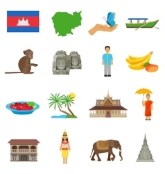 Cambodia Culture Flat Icons Set vector