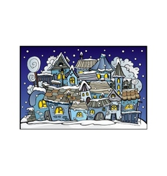 Cartoon winter fairytale town vector