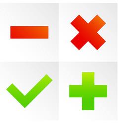 Check mark cross plus minus sign set vector